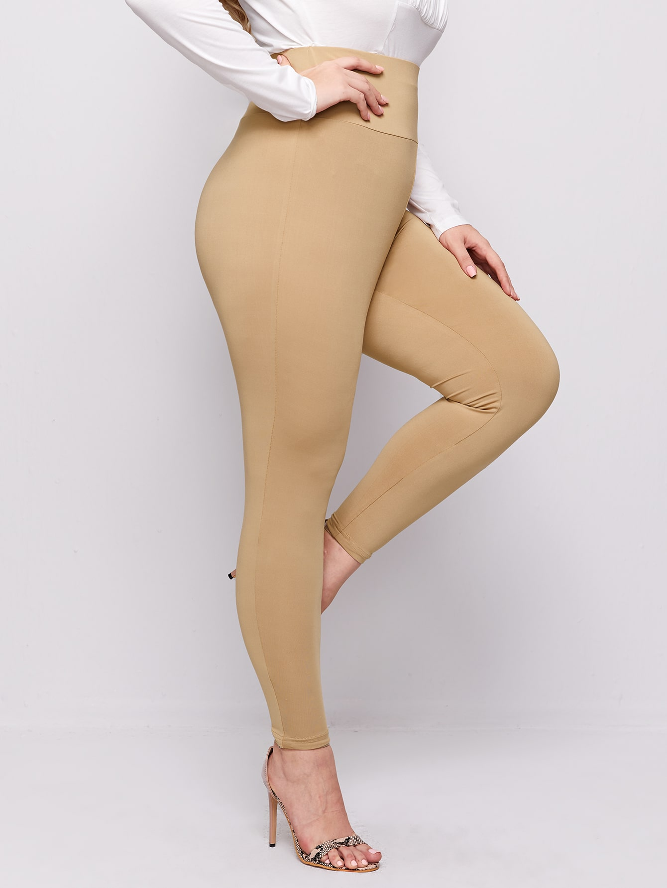 Plus Wide Waistband Solid Leggings thumbnail