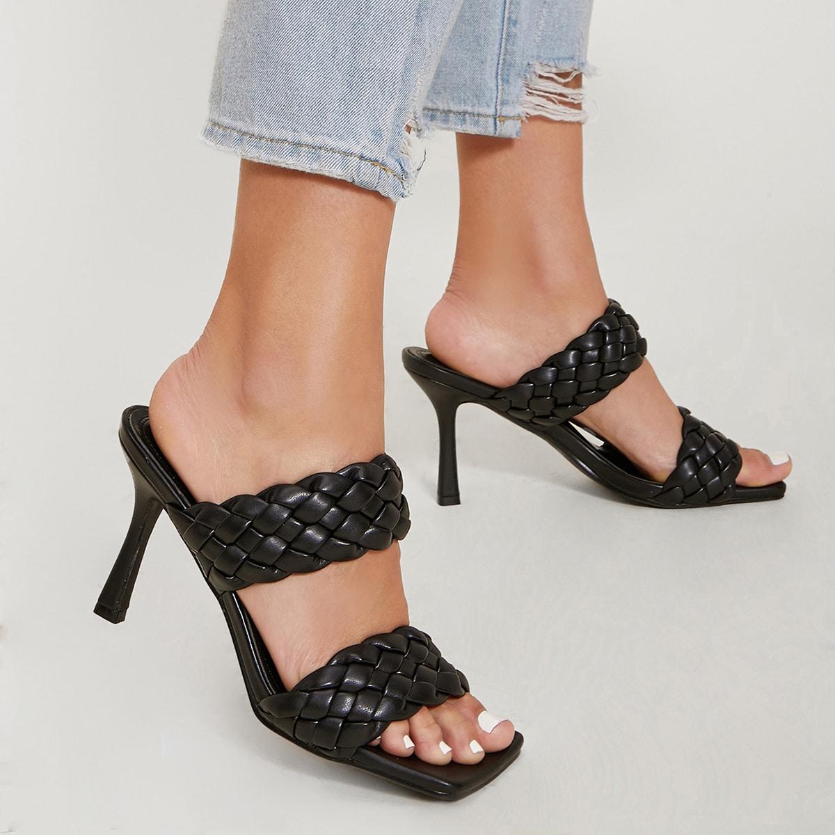 Плетеные туфли на каблуке из искусственной кожи