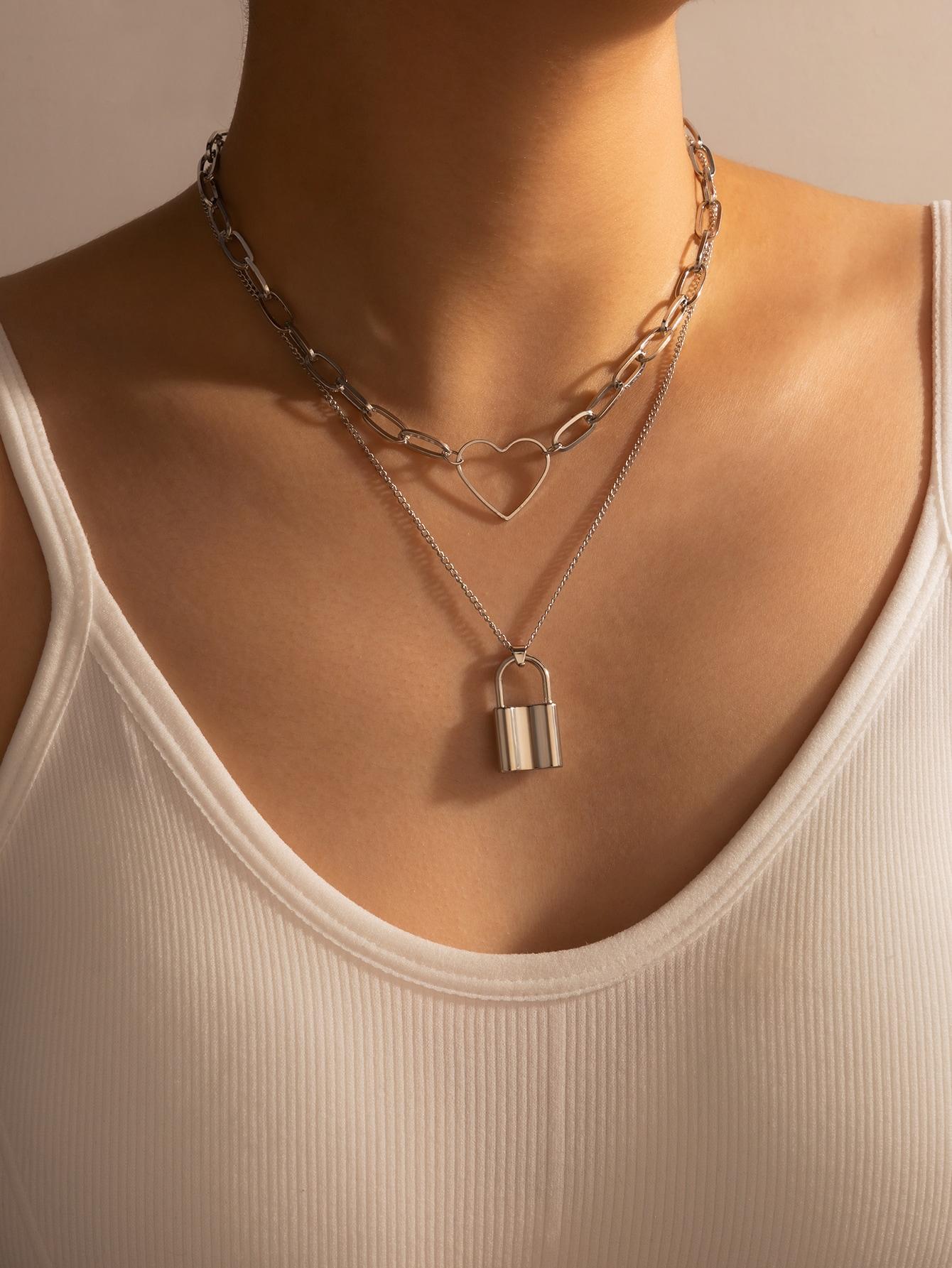Многослойное ожерелье с сердечкомswneck18200925763