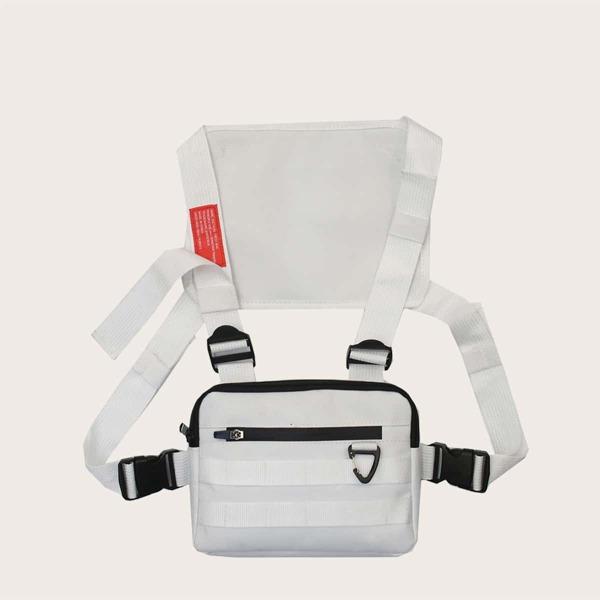 Men Zip Front Chest Bag, White