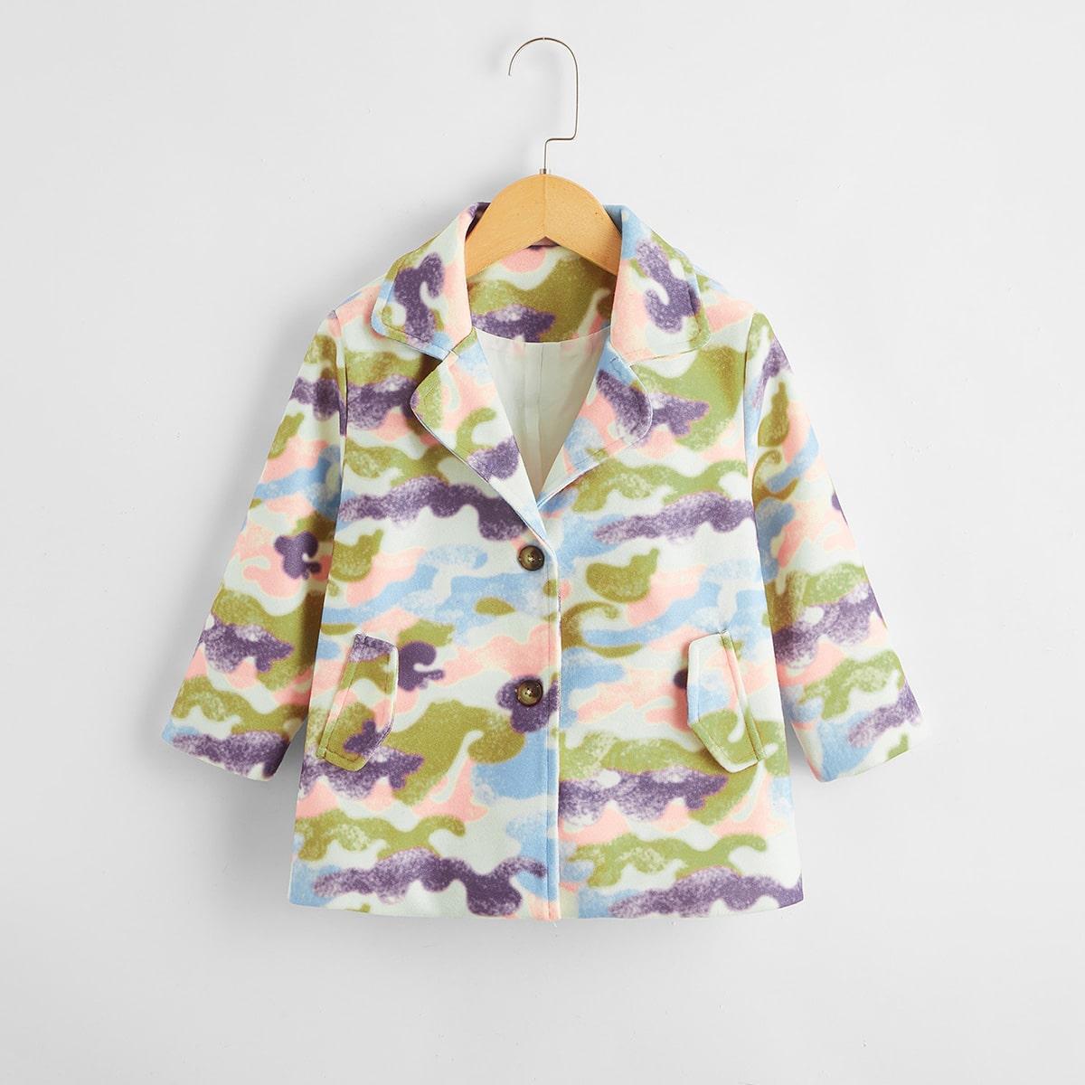 Однобортный принт всего тела повседневный пальто для маленьких девочек