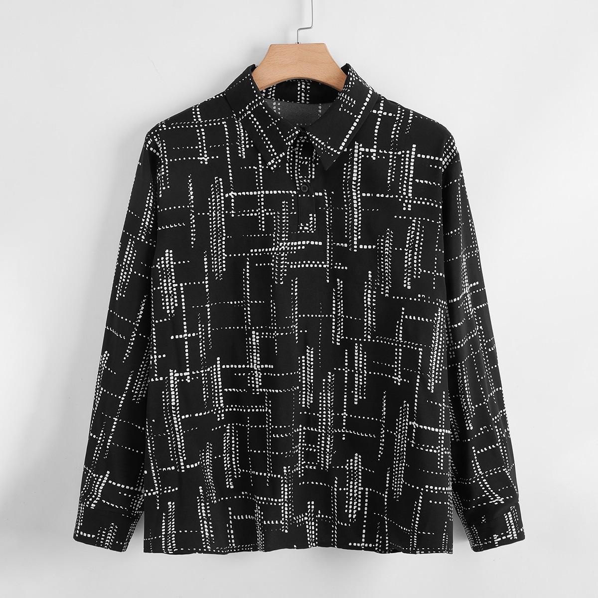 SHEIN Casual Volledig geprint Grote maat blouse