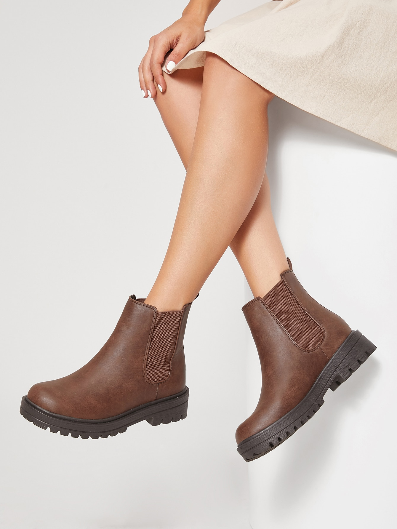 Faux Leather Lug Sole Chelsea Boots