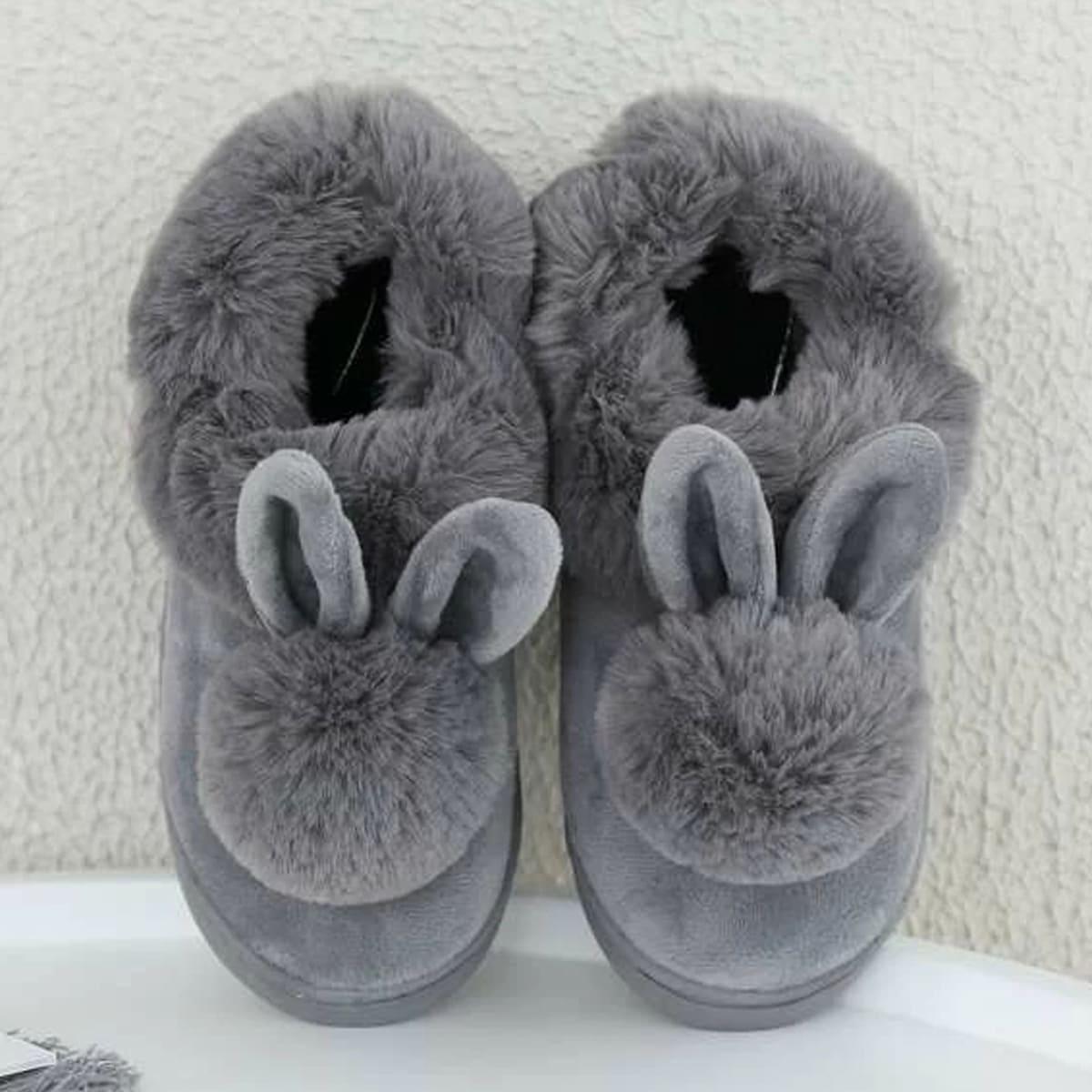 Пушистые шлёпанцы с украшением кролика SheIn shoes180927322