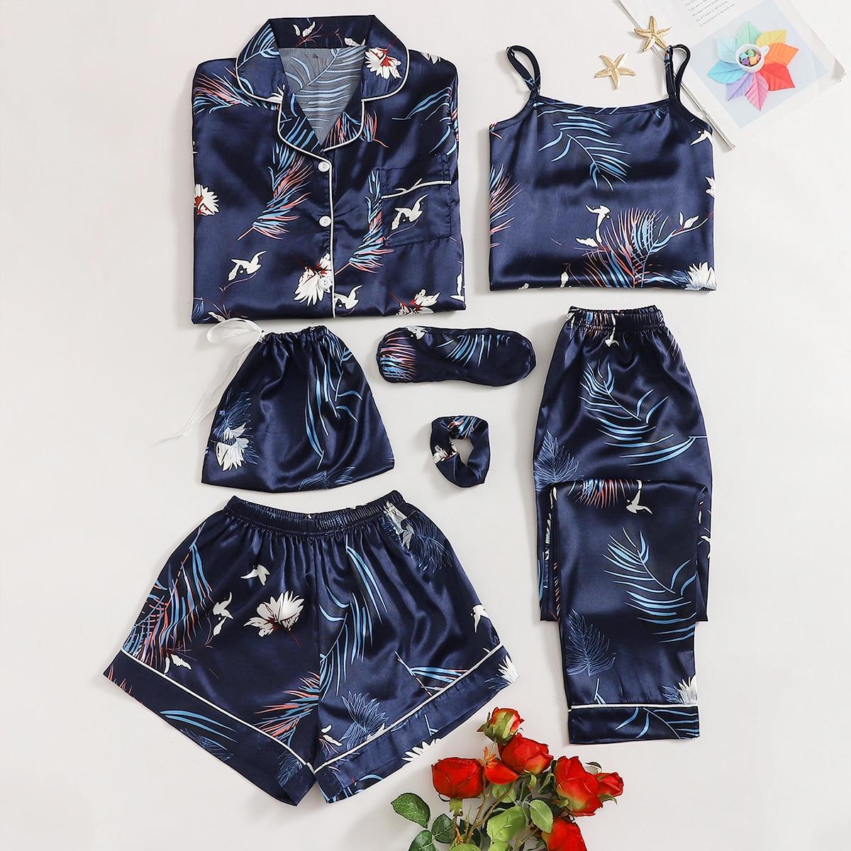 Атласная пижама с тропическим принтом 7шт