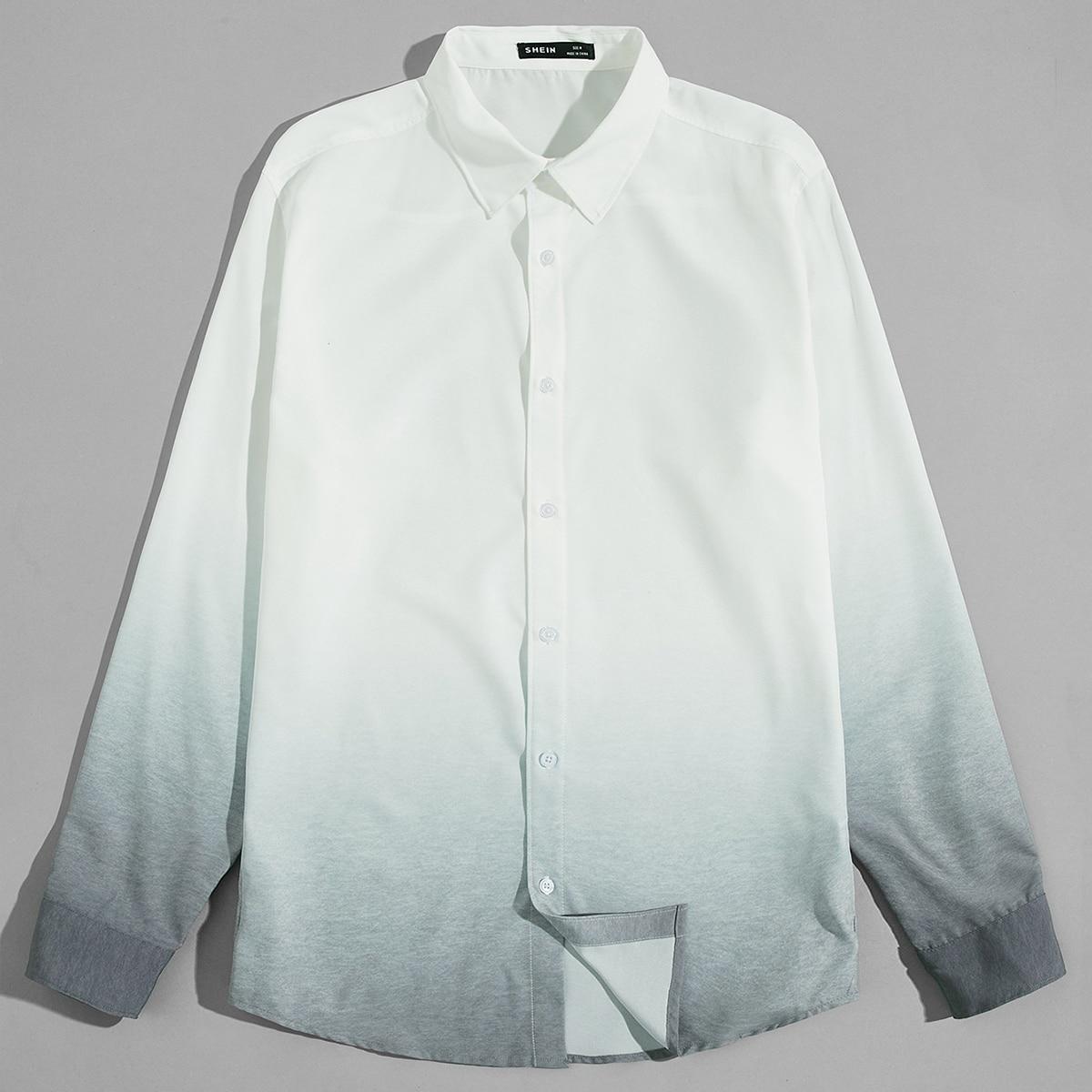 Пуговица градиент цветовой отпуск мужские рубашки