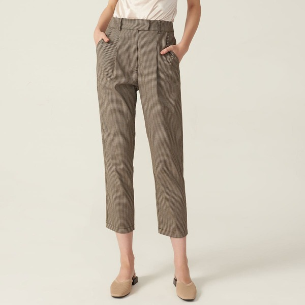 SPANDEX CROPPED GINGHAM TAILORED PANTS, Multicolor