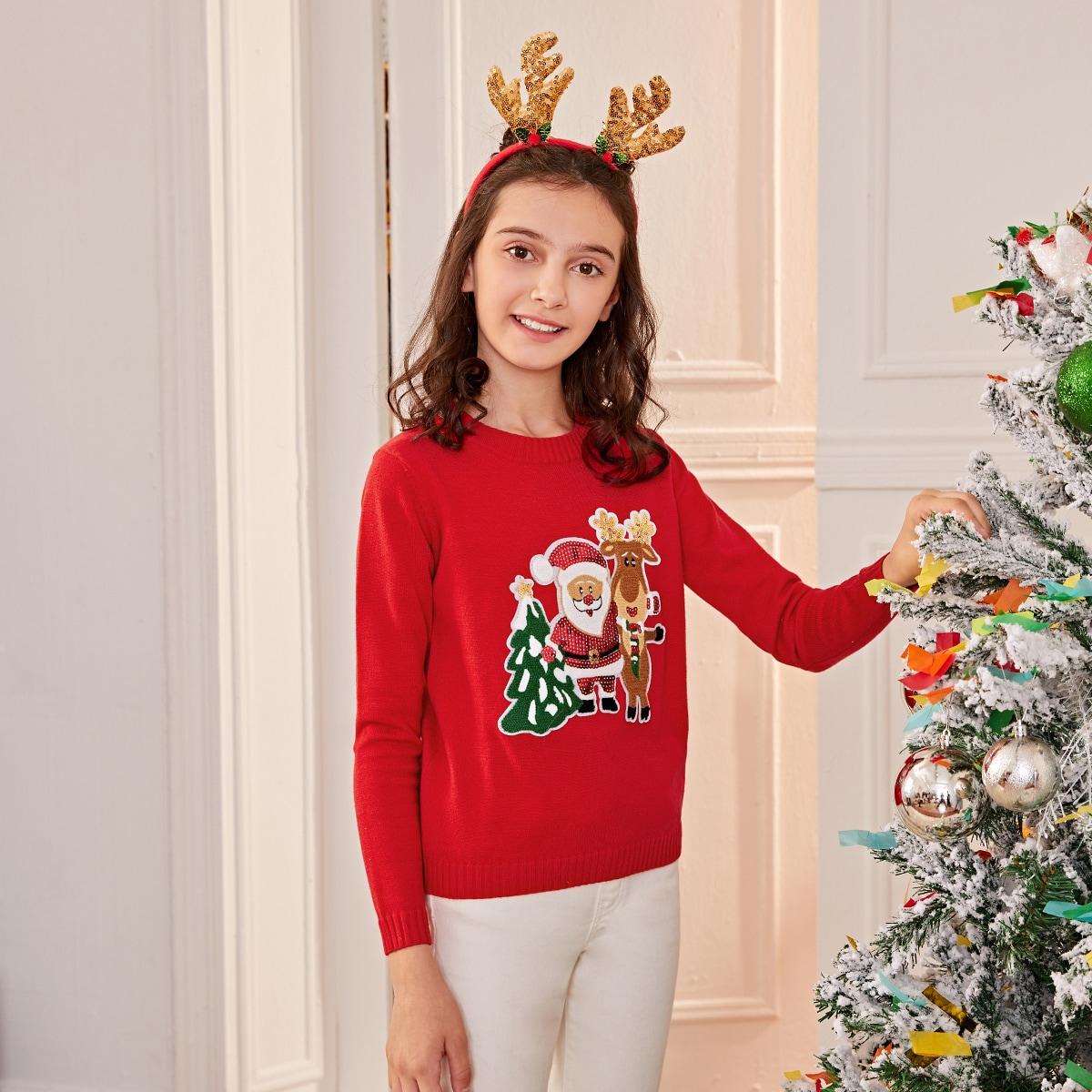 Контрастные блестки с карикатурой повседневный свитера для девочек