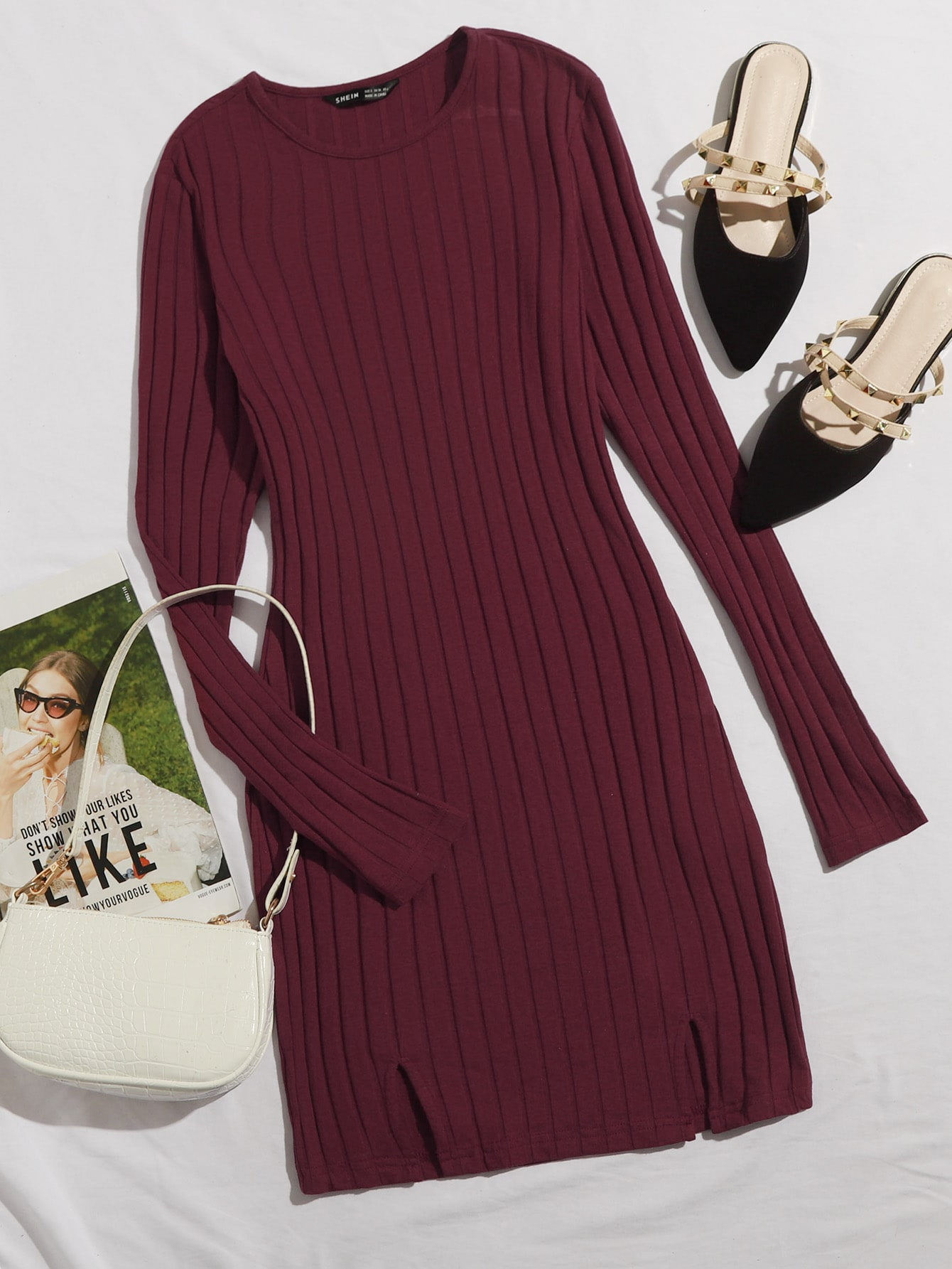 Rib-knit M-slit Hem Dress thumbnail