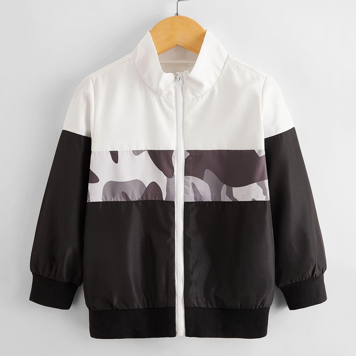 Toddler Boys Contrast Camo Panel Windbreaker Jacket