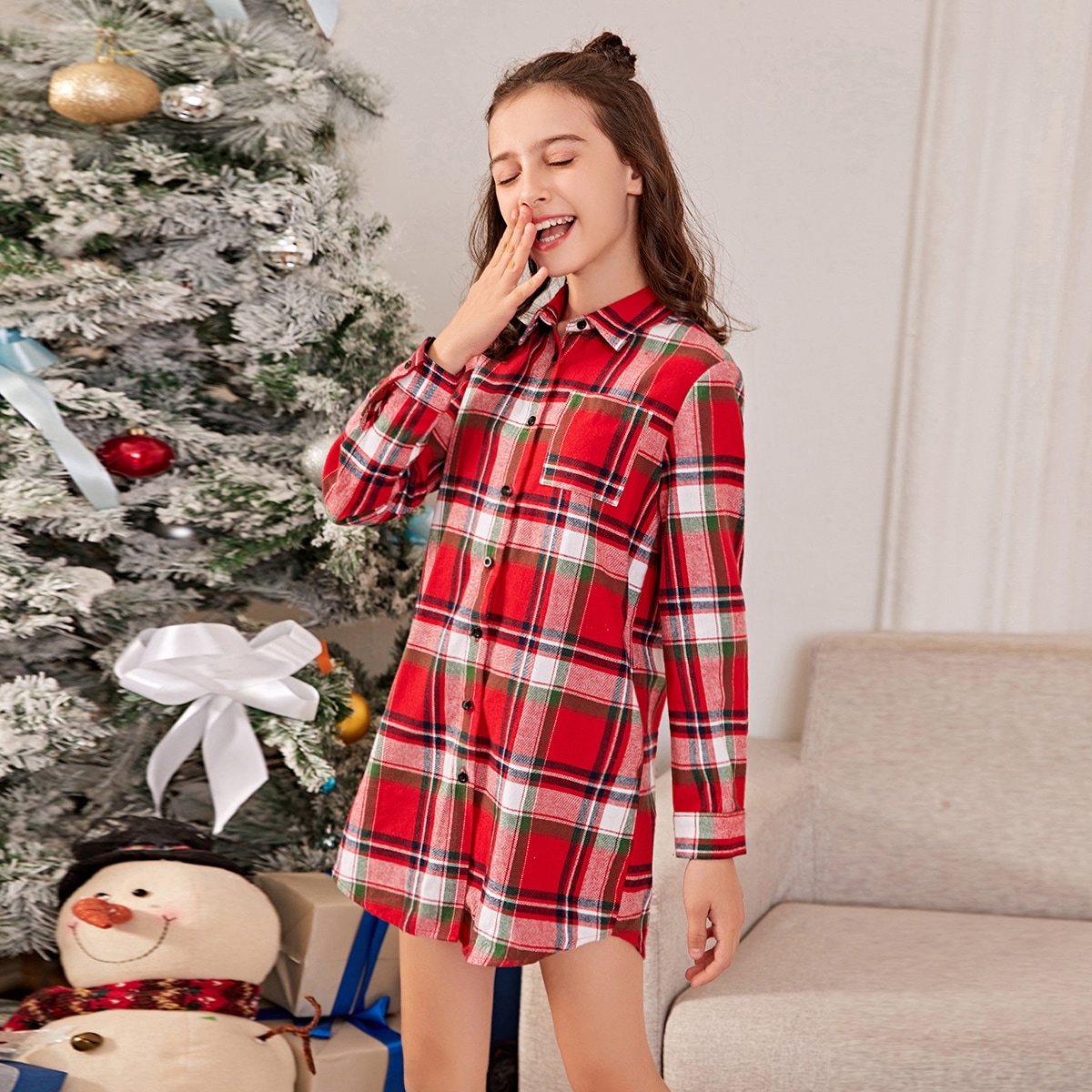На пуговицах шотландка повседневный домашняя одежда для девочек