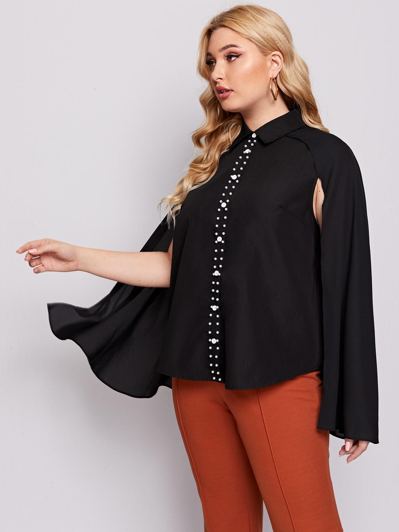 Plus Cloak Sleeve Pearls Beaded Blouse thumbnail