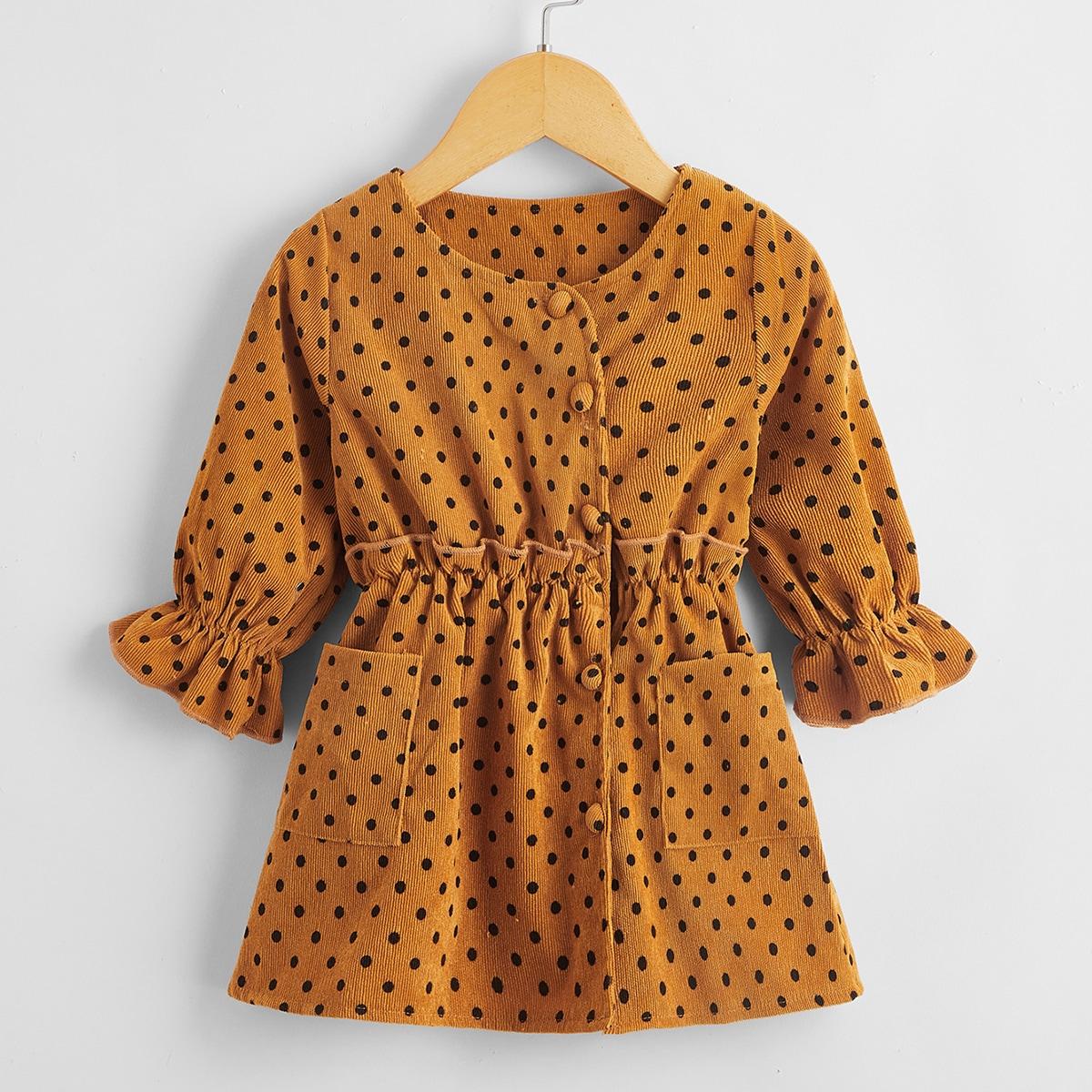 Вельветовое платье в горошек для девочек от SHEIN
