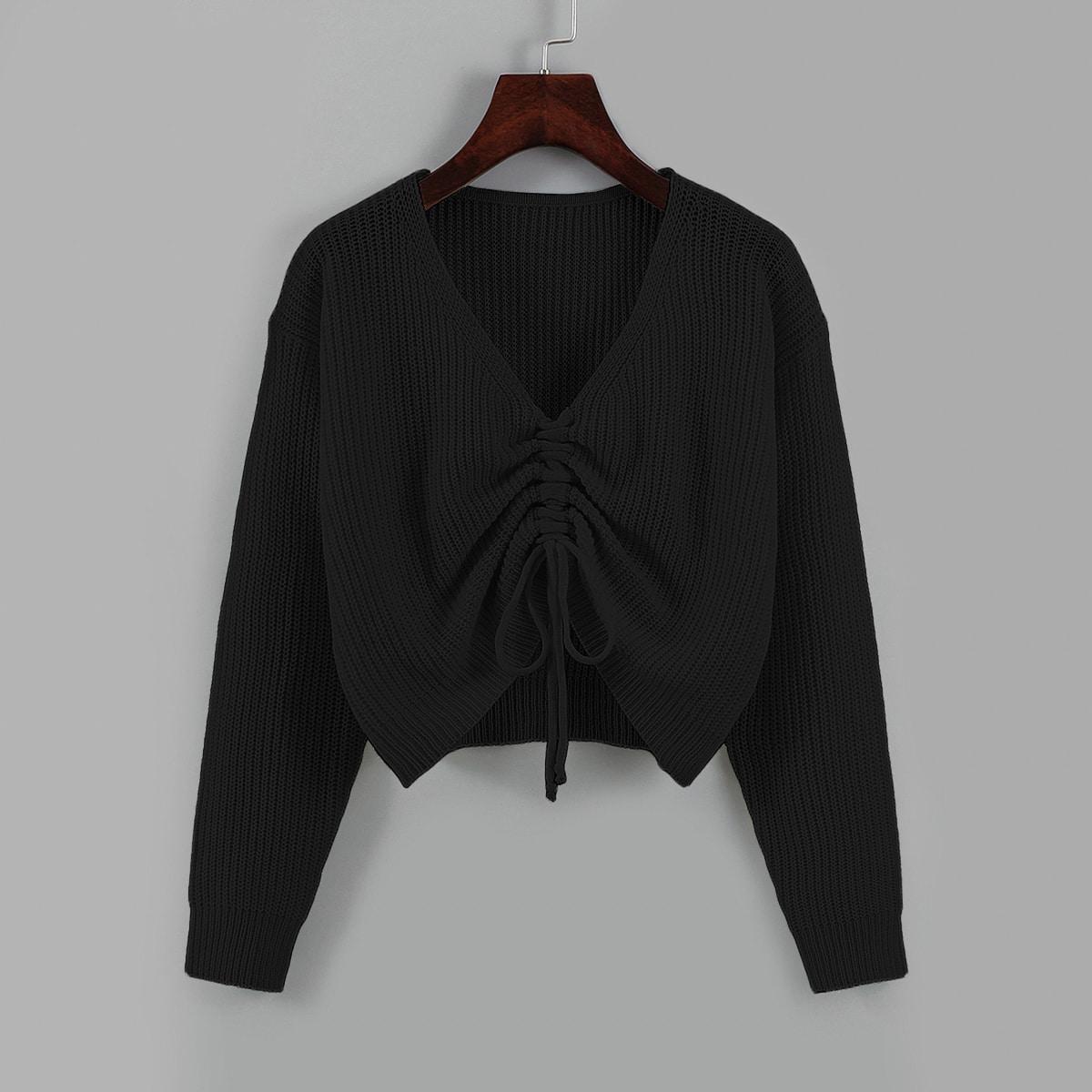 Drawstring Front Drop Shoulder Sweater
