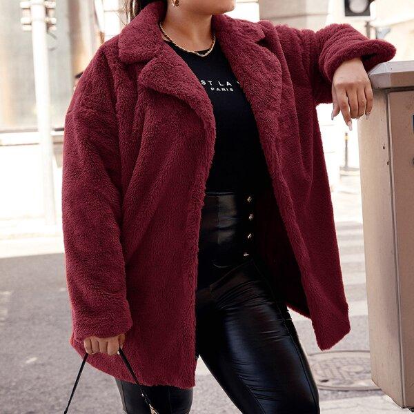 Plus Notched Collar Teddy Coat, Burgundy