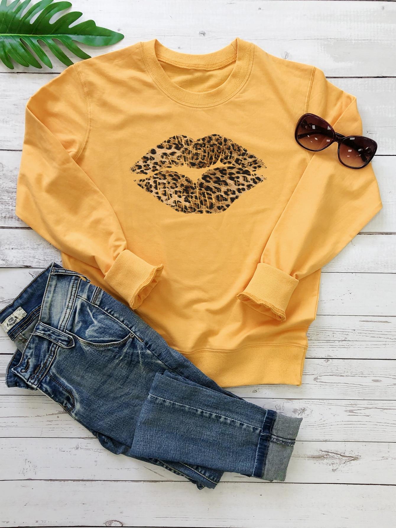 Plus Leopard Lip Print Sweatshirt thumbnail