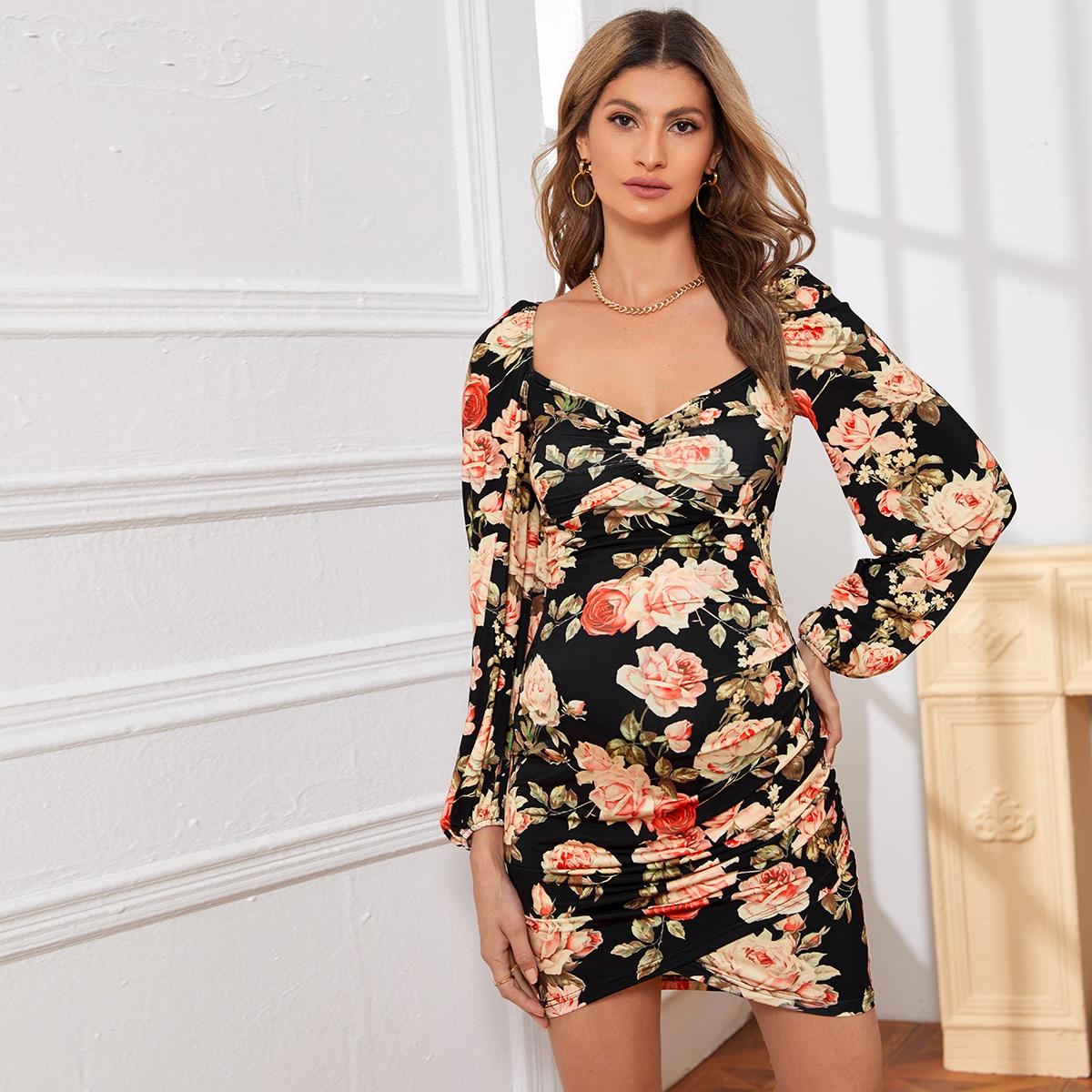 С рюшами цветочный принт элегантный платья для беременных