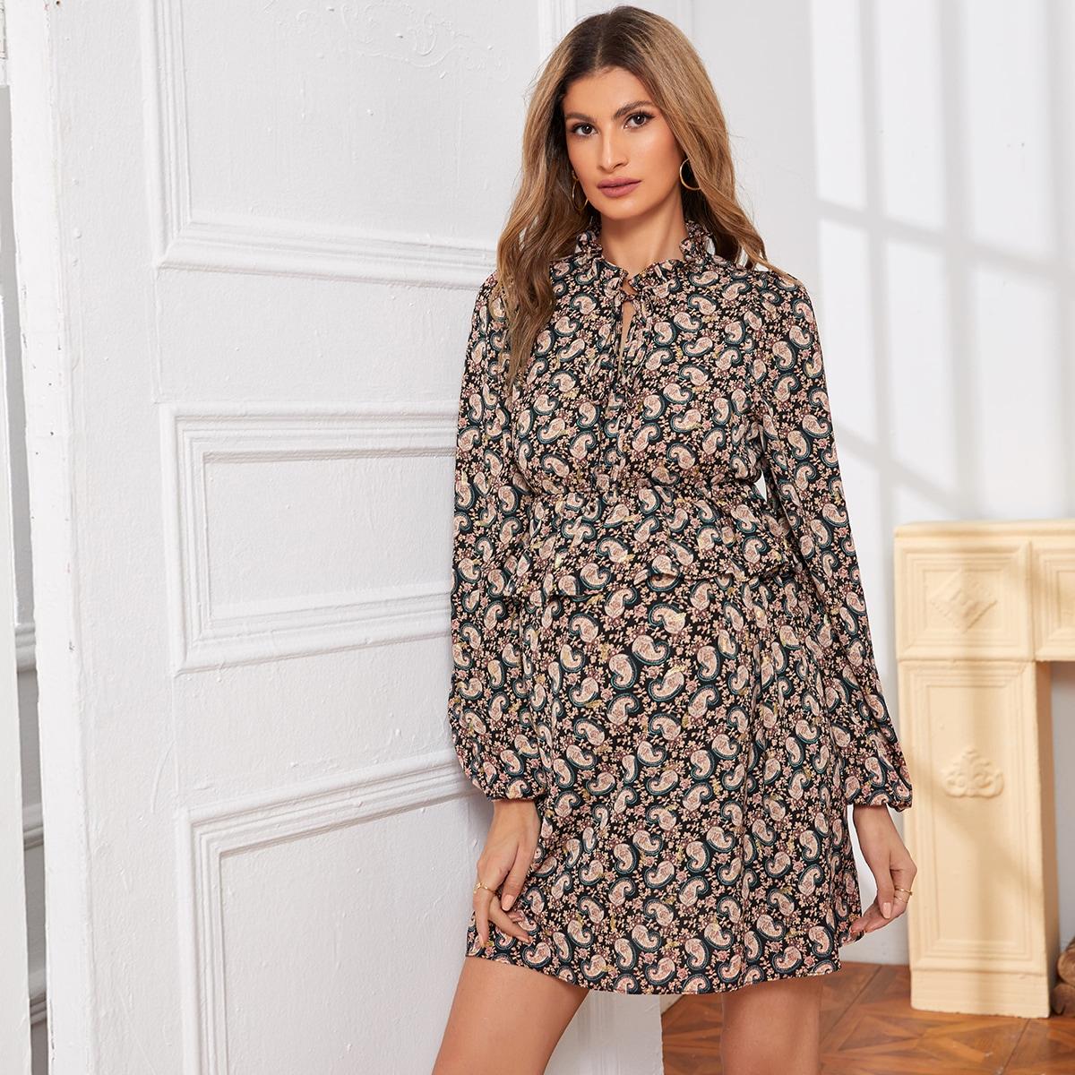 С воланами пейсли бохо платья для беременных
