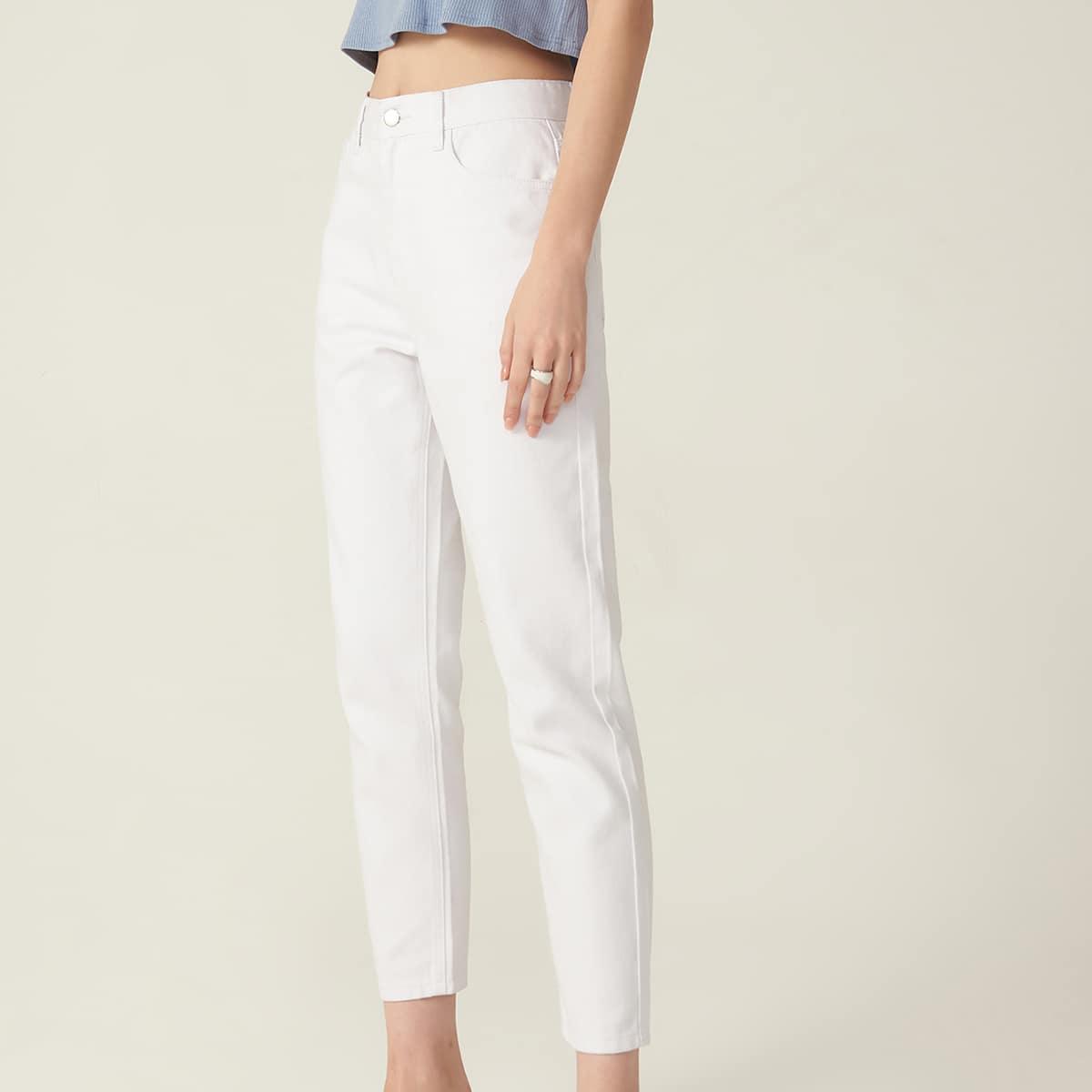 Короткие джинсы из хлопка с высокой талией