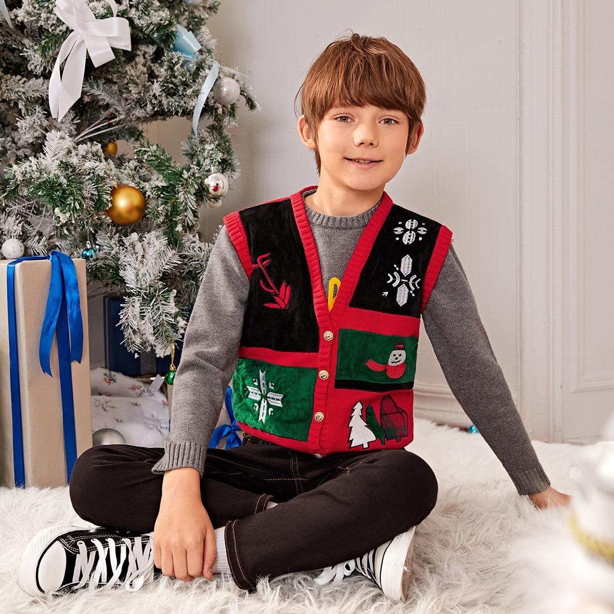 """Кардиган с узором """"рождествеская елка и снеговика"""" для мальчиков"""