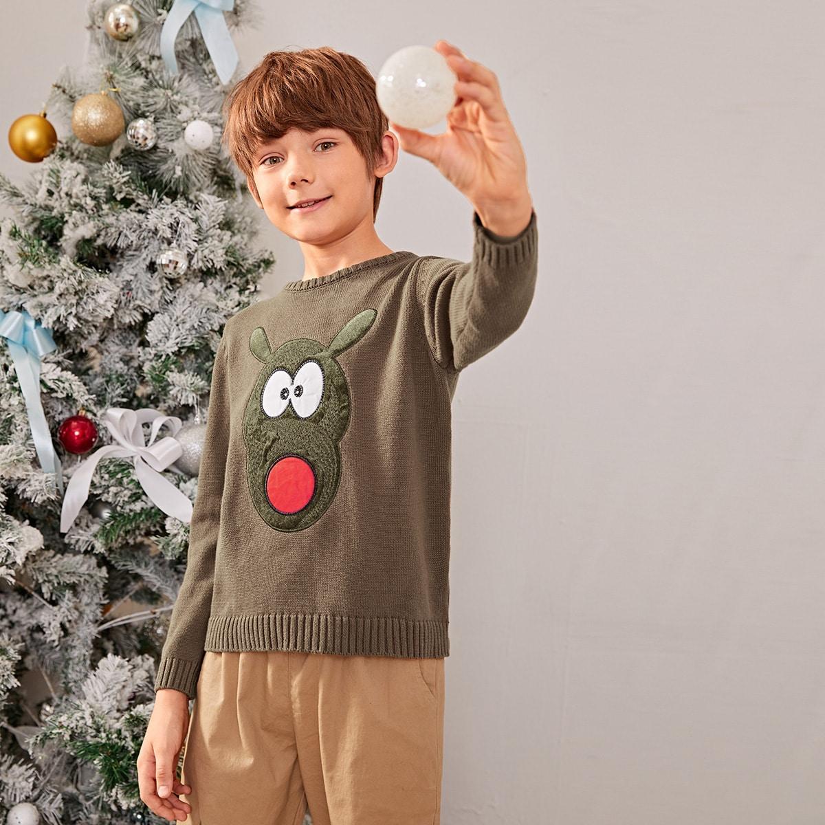 Шнуровка с карикатурой повседневный свитеры для мальчиков