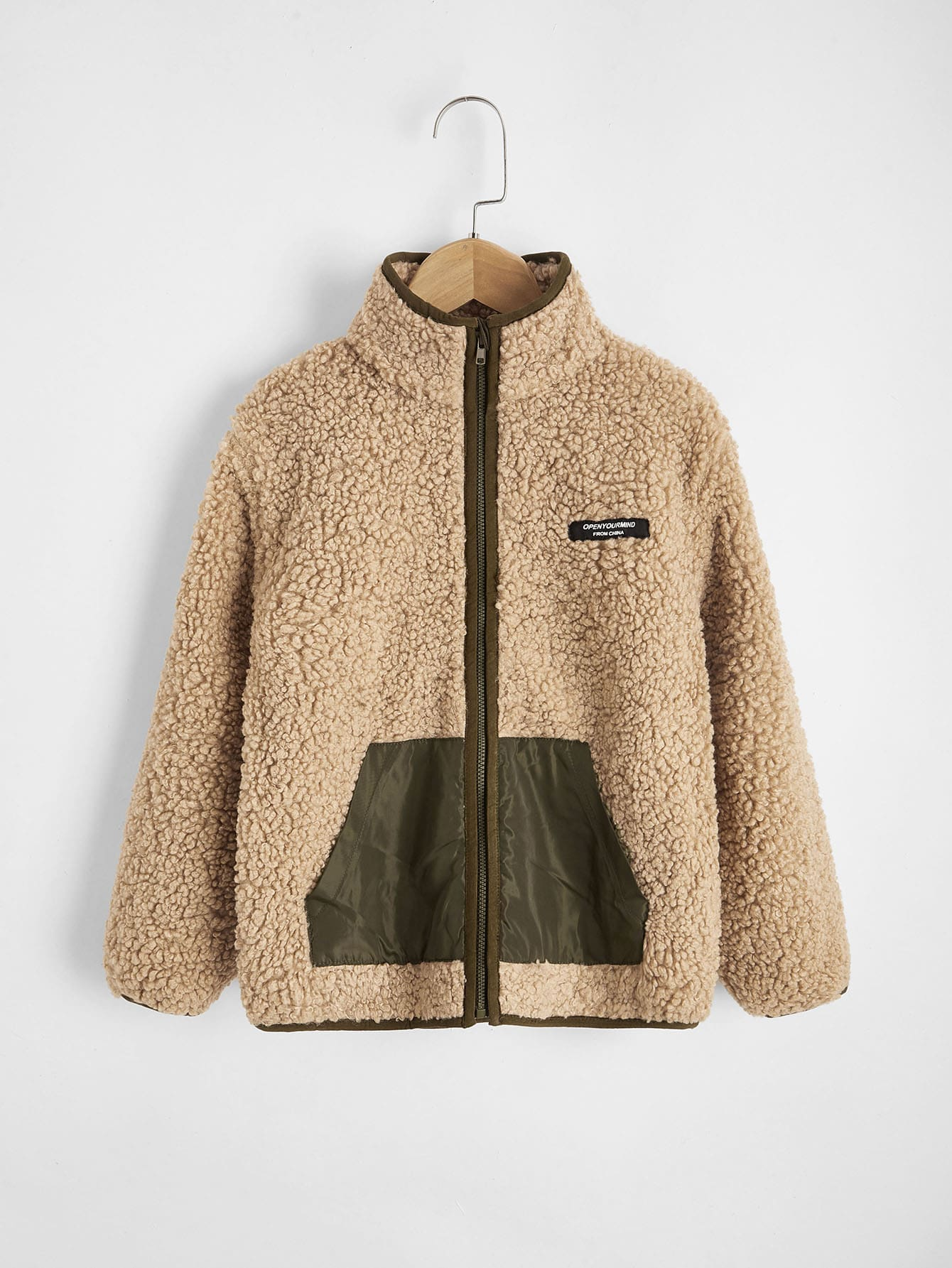 boys zipper patched detail teddy jacket