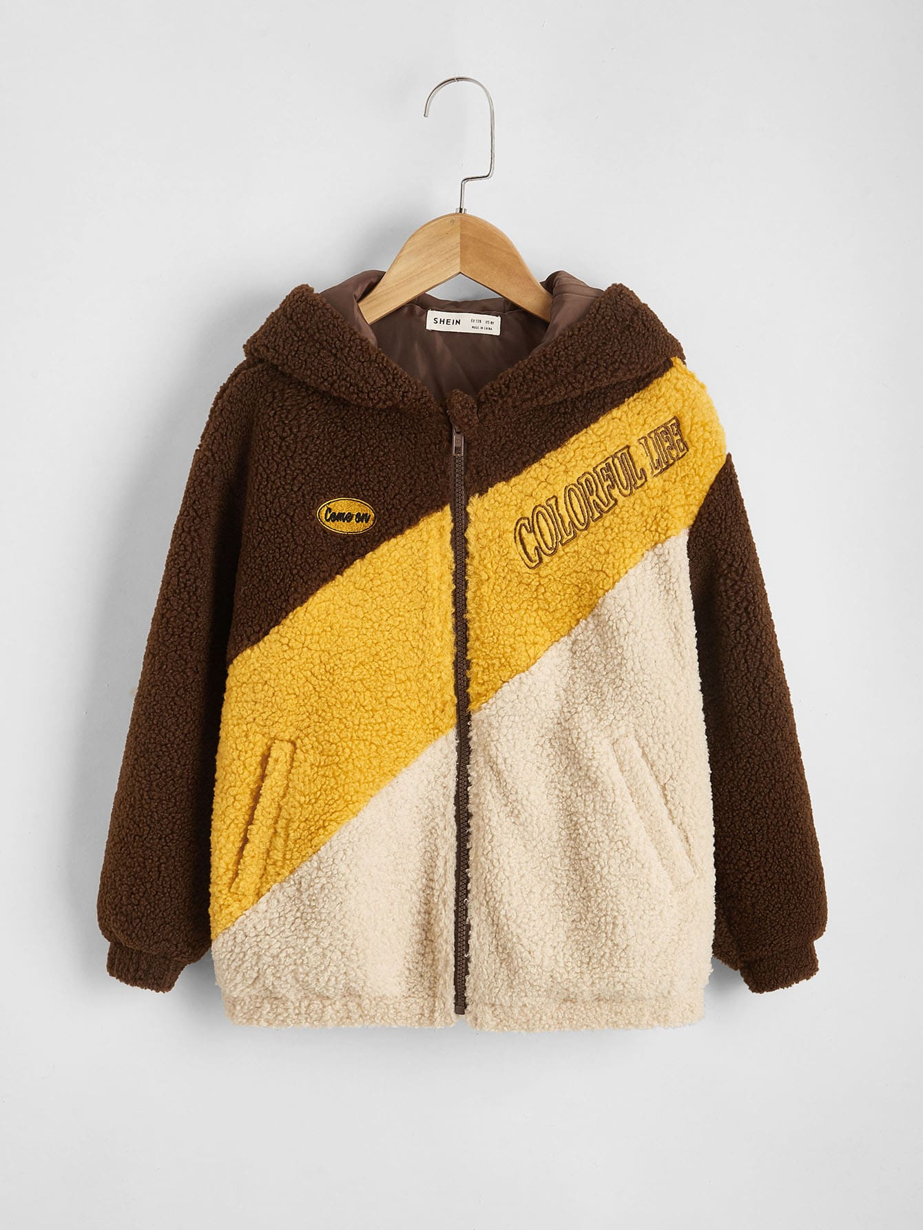 Boys Letter Embroidery Colorblock Teddy Jacket