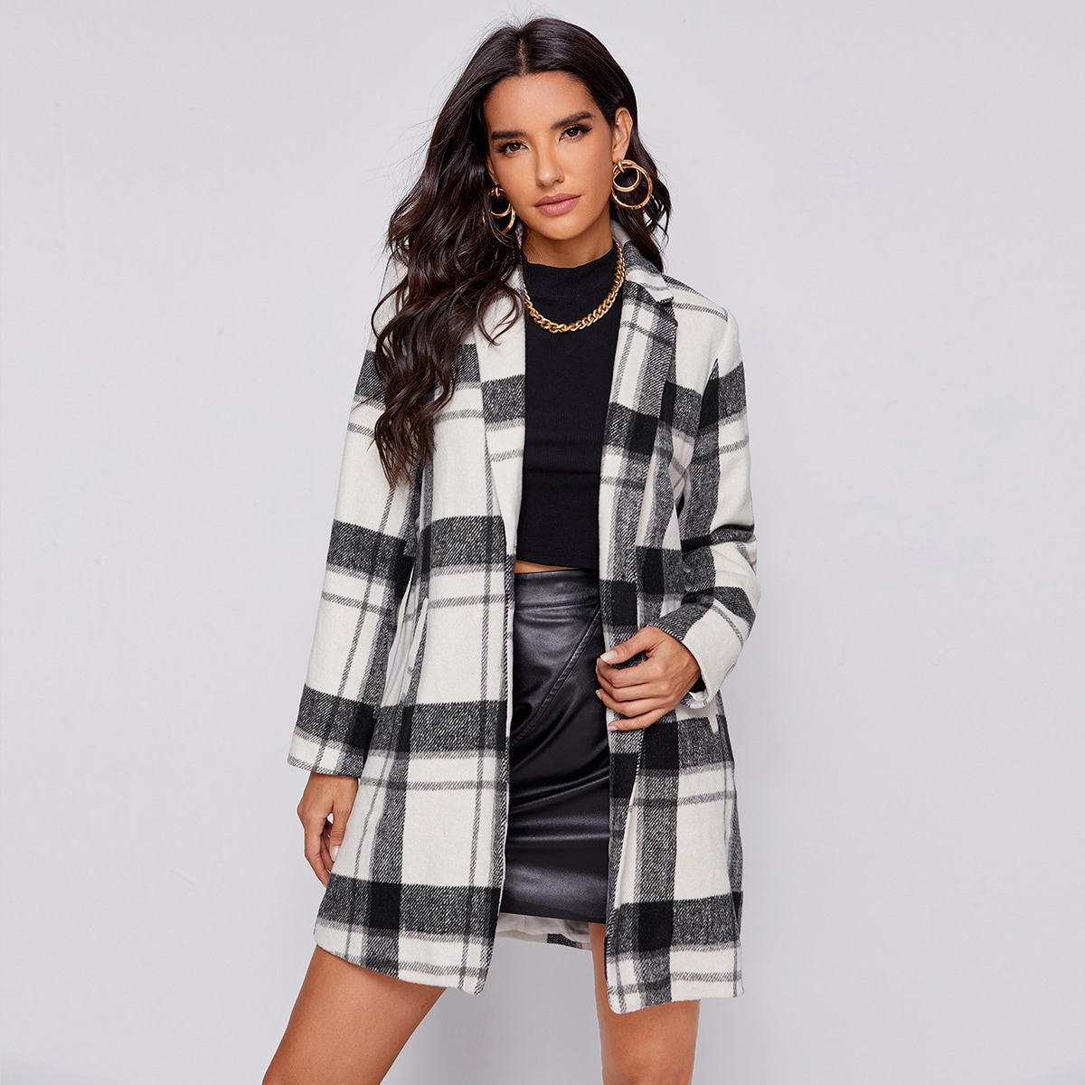 Notched Collar Buttoned Front Plaid Coat