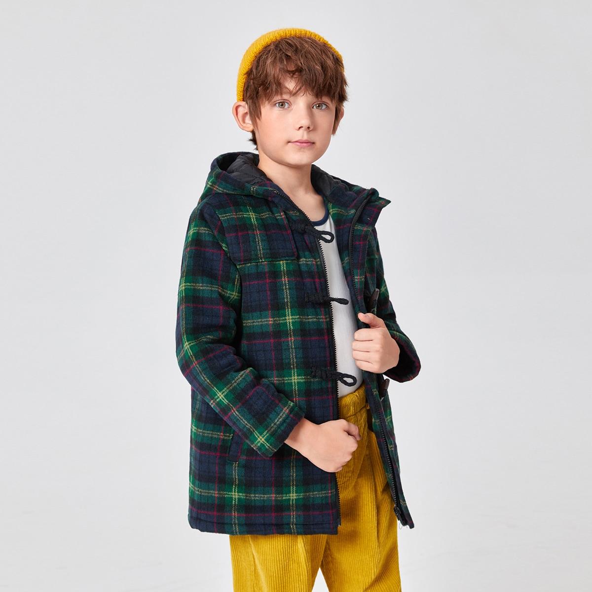 на молнии шотландка Институтский Пальто для мальчиков