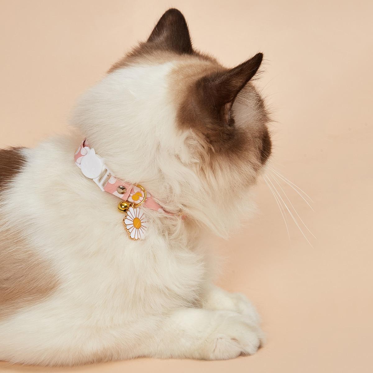 1 Stück Katze Halsband mit Blumen Muster