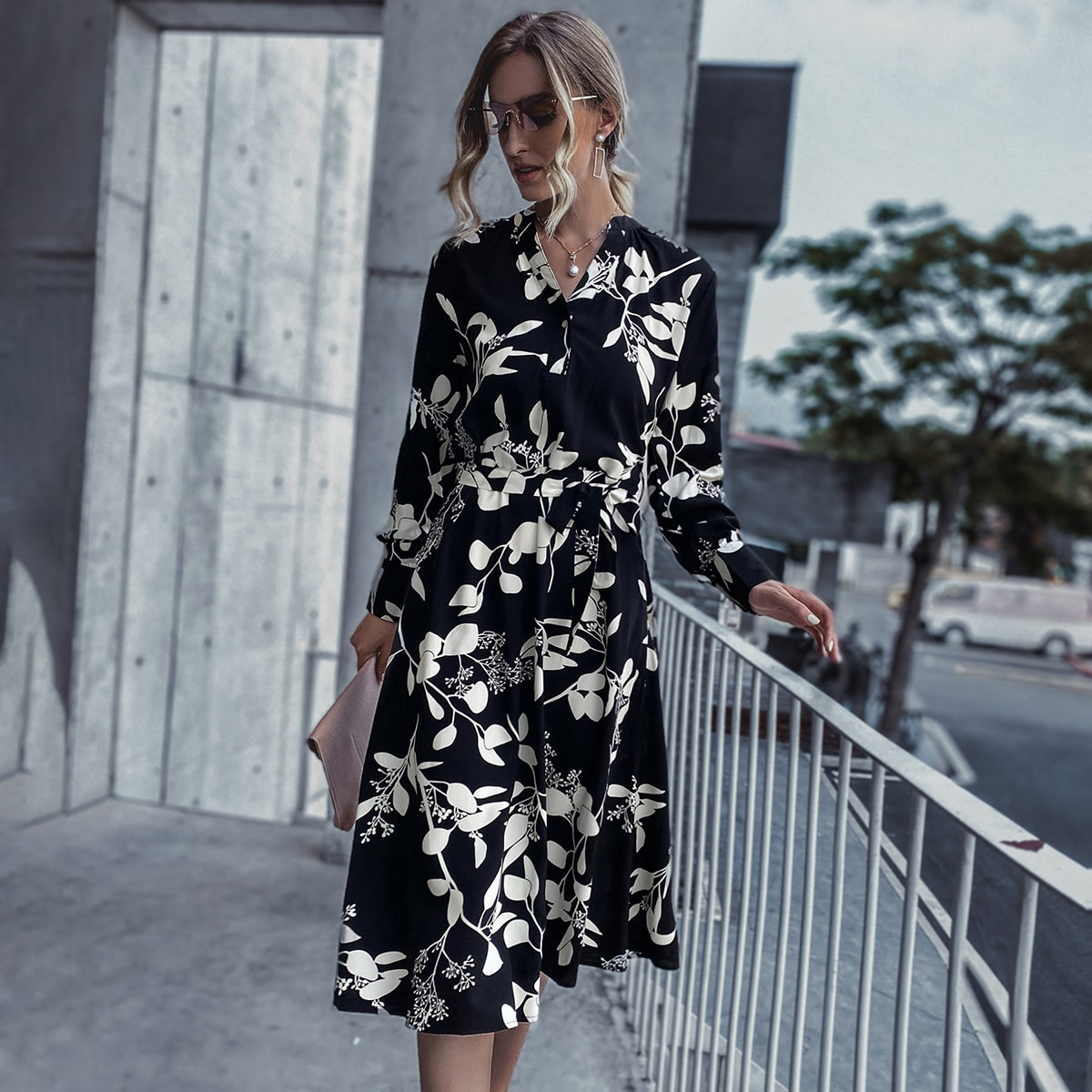 Plants Print Notched Neck Belted Midi Dress