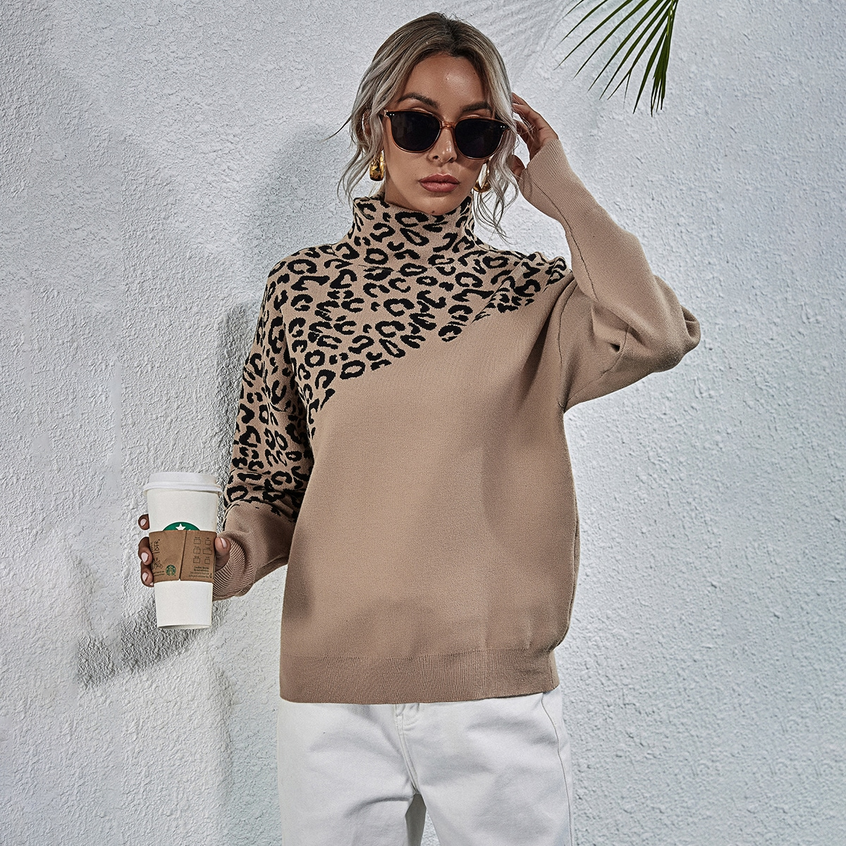 Леопардовый Повседневный Трикотаж