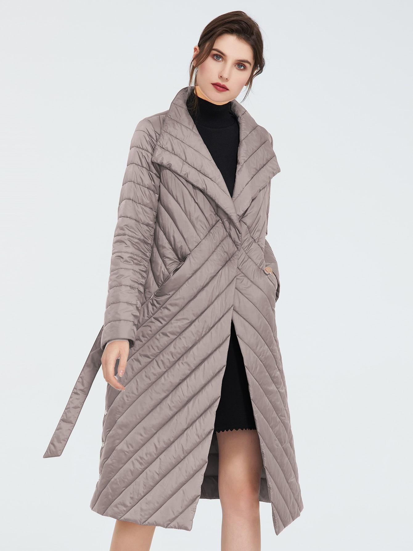 pocket side belted quilted padded coat