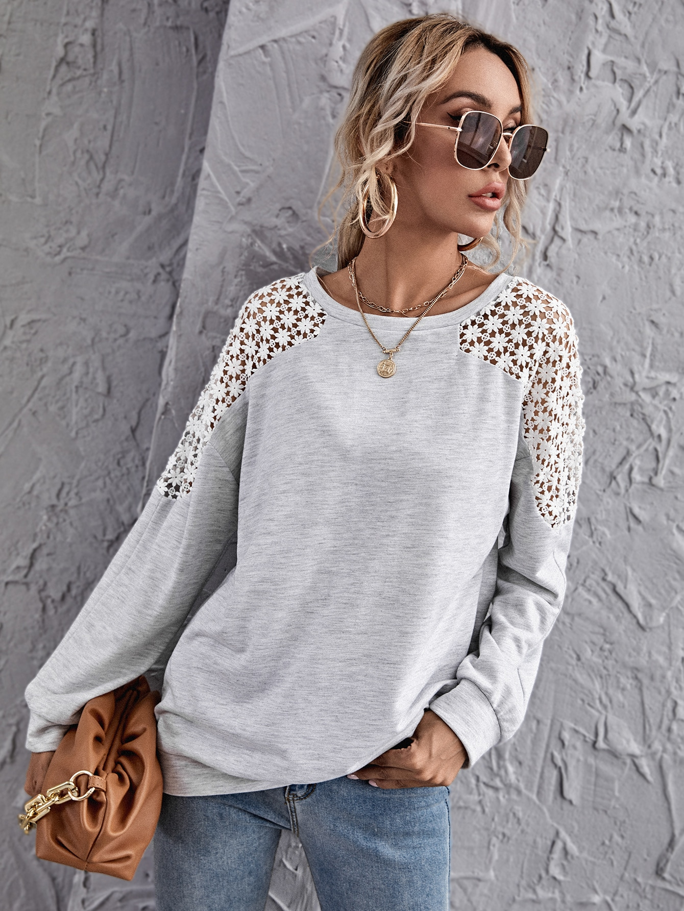 Guipure Lace Insert Sweatshirt thumbnail
