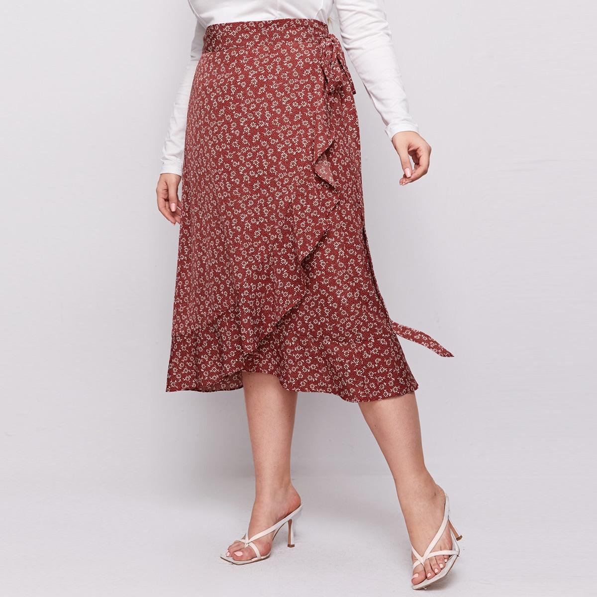 С воланами цветочный бохо юбки размер плюс