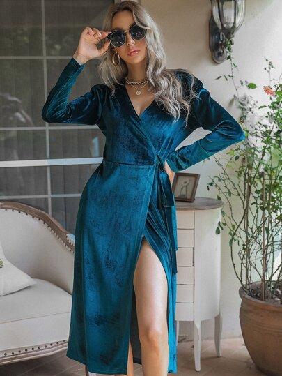 с поясом Одноцветный Элегантный Платья