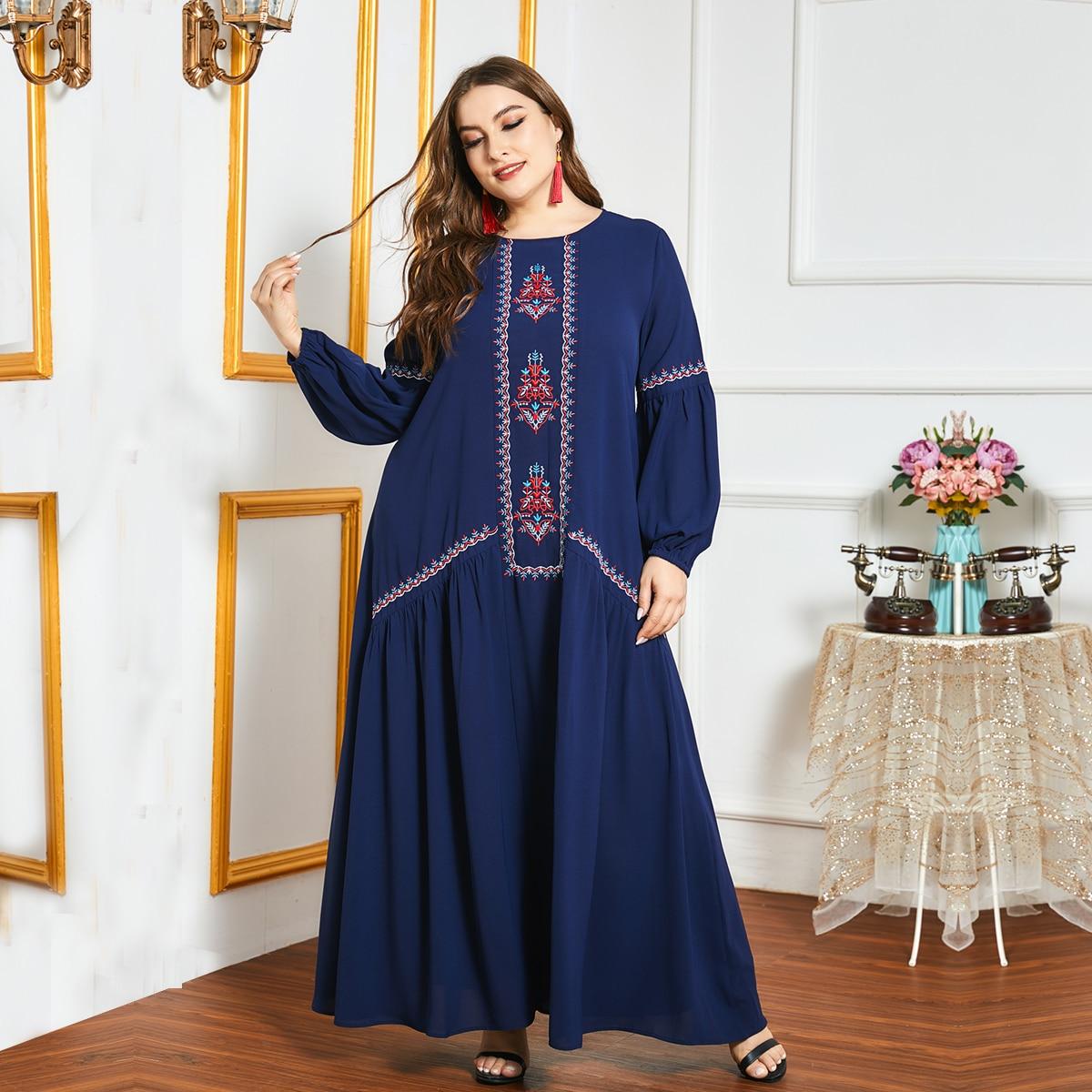 Вышивка Этнический Повседневный Платья размер плюс