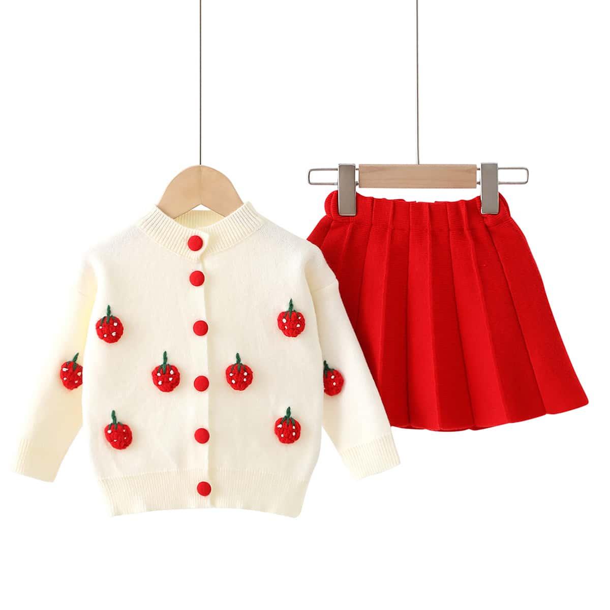 Кардиган с заплатой клубники и юбка для девочек