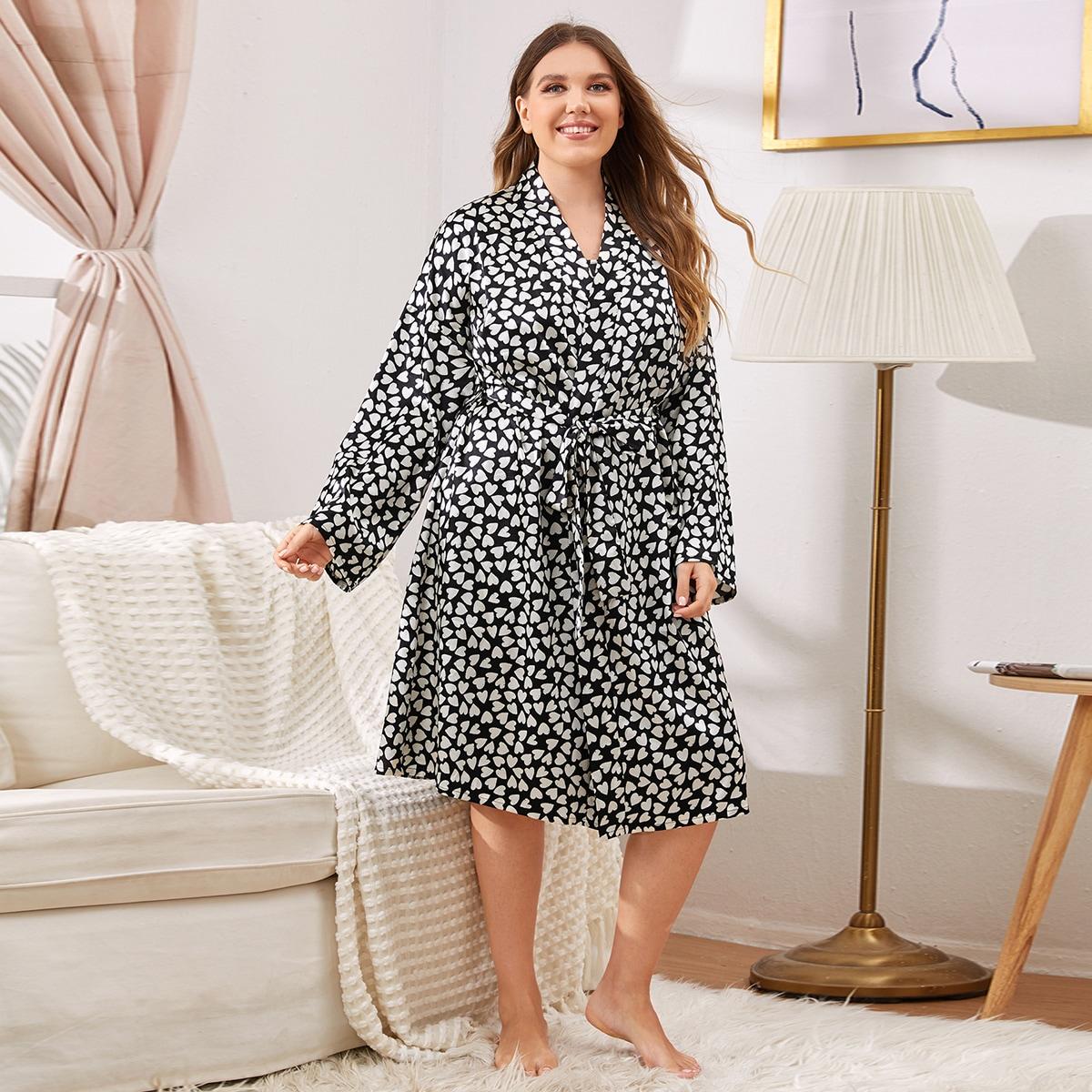 С поясом сердечко элегантный пижама размер плюс