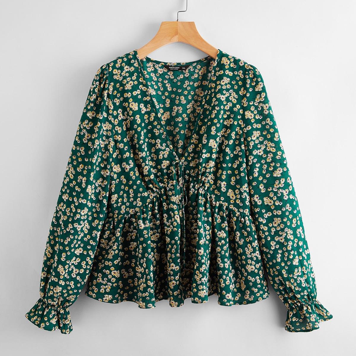 с оборками цветочный Бохо Блузы