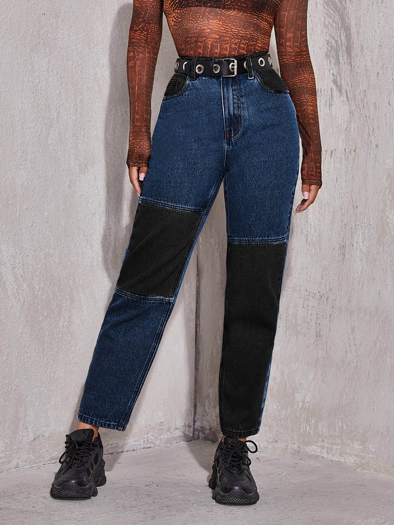 High Waist Cut and Sew Jeans Without Belt thumbnail