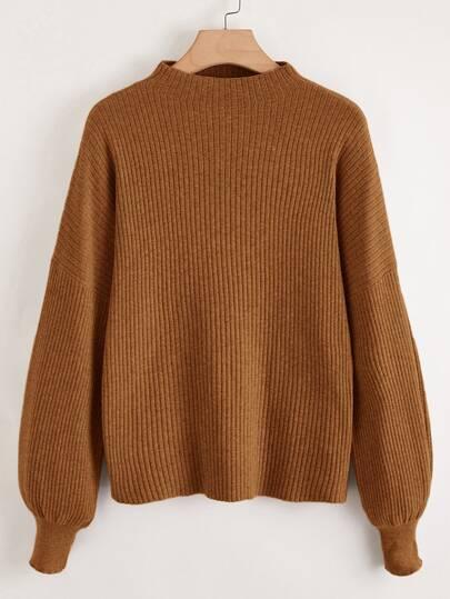 Plus Solid Mock Neck Drop Shoulder Sweater