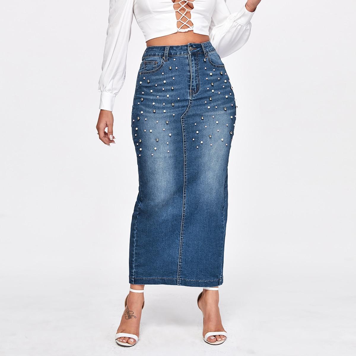 С бисером повседневный джинсовые юбки
