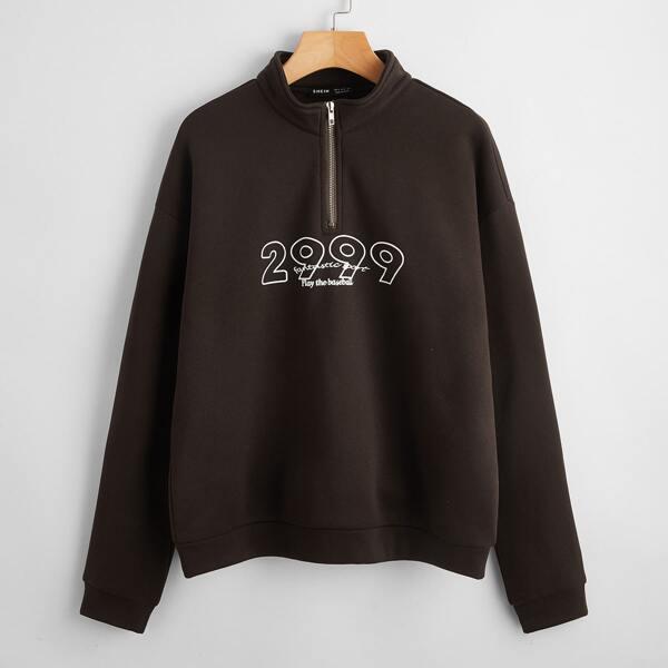 Half Zip Drop Shoulder Letter Graphic Sweatshirt, Chocolate brown