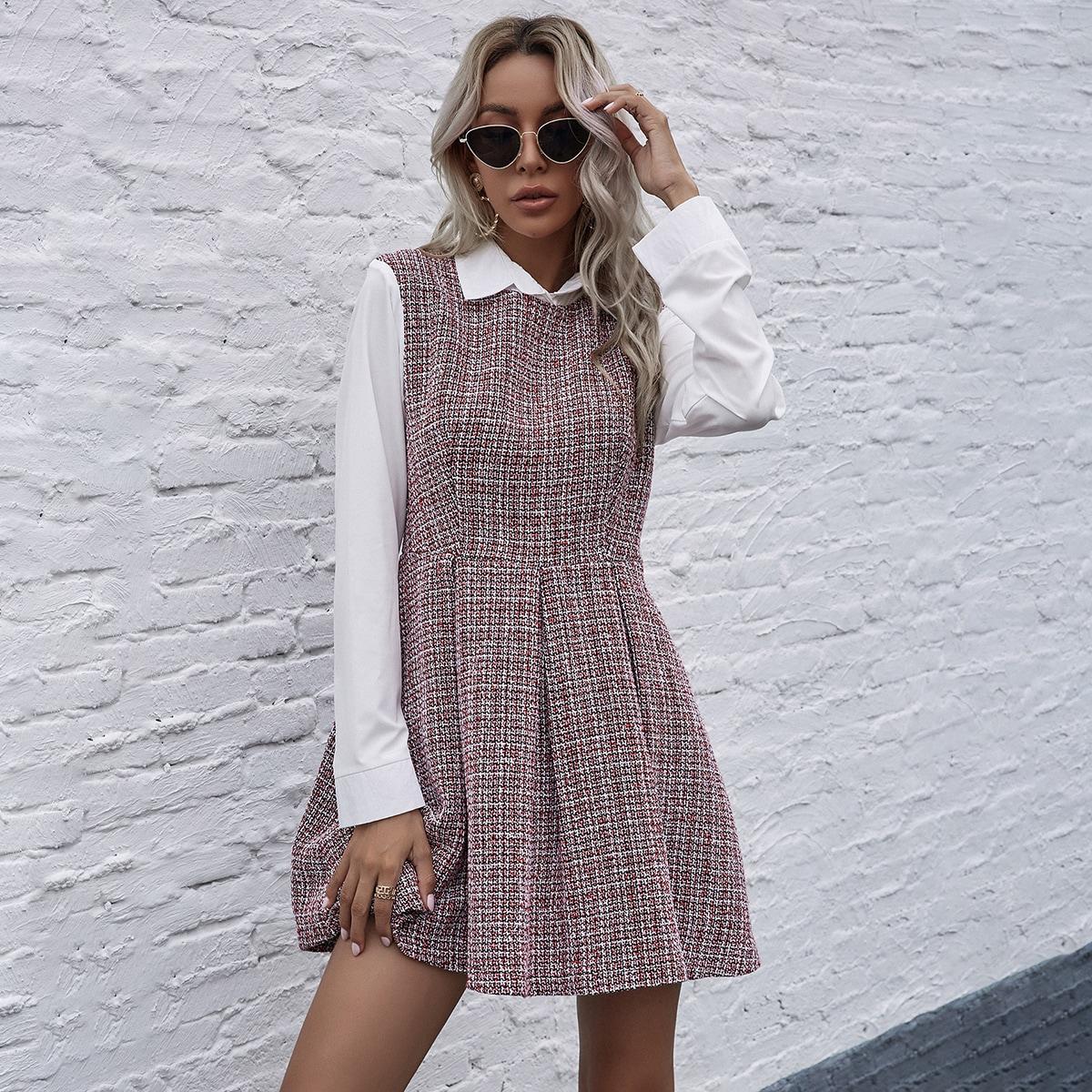 2 в 1 твидовое платье
