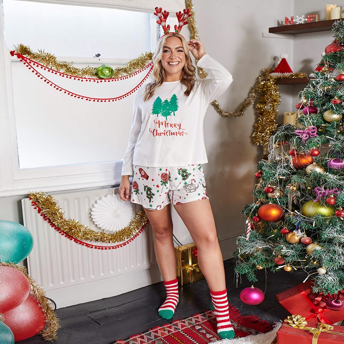 Рождество повседневный пижама размер плюс