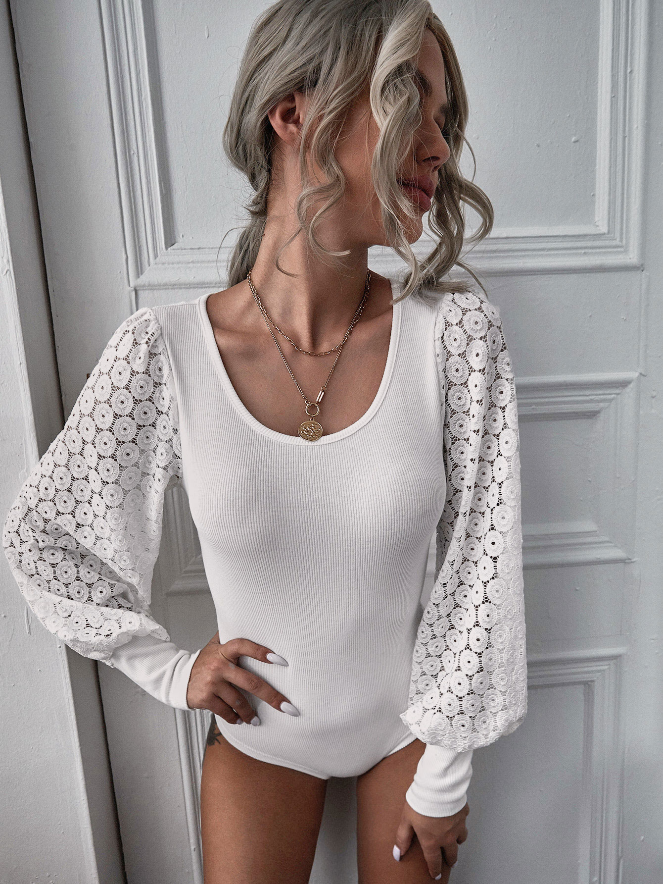 Lace Panel Bishop Sleeve Bodysuit thumbnail
