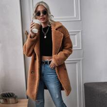 Lapel Collar Double Breasted Teddy Coat