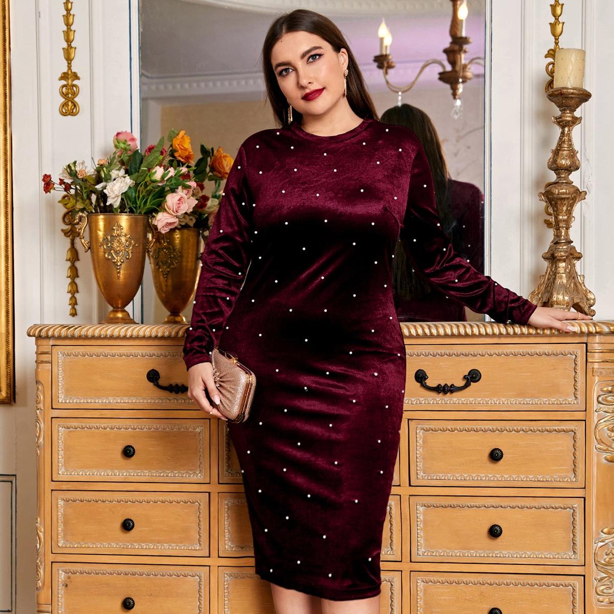 Облегающее бархатное платье размера плюс с жемчугом