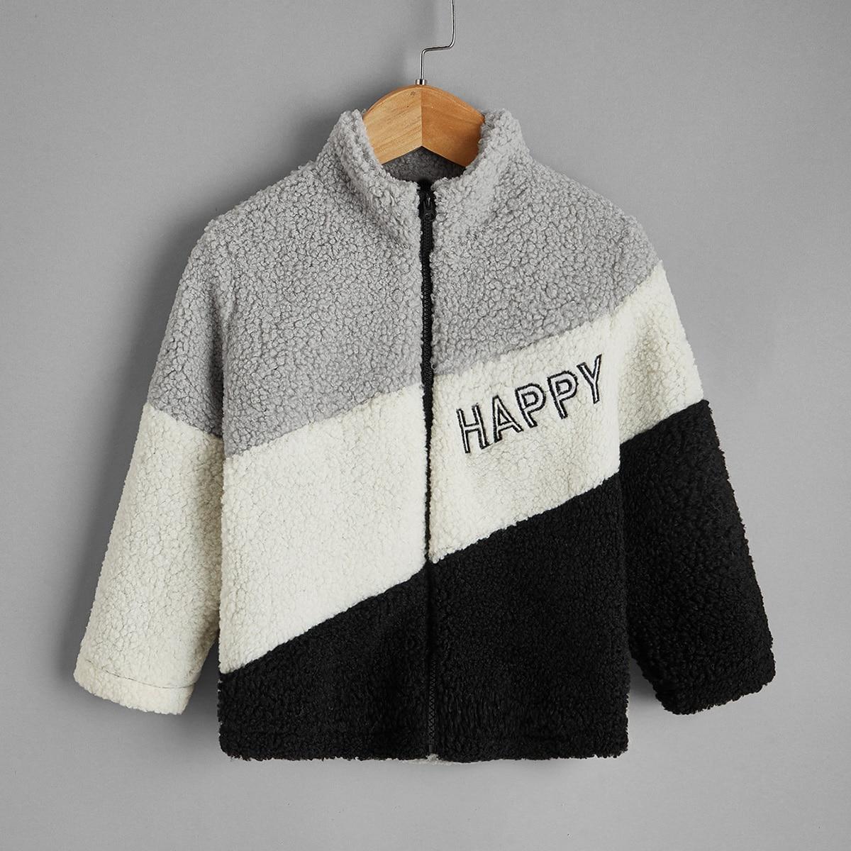 На молнии буква повседневный пальто для маленьких мальчиков